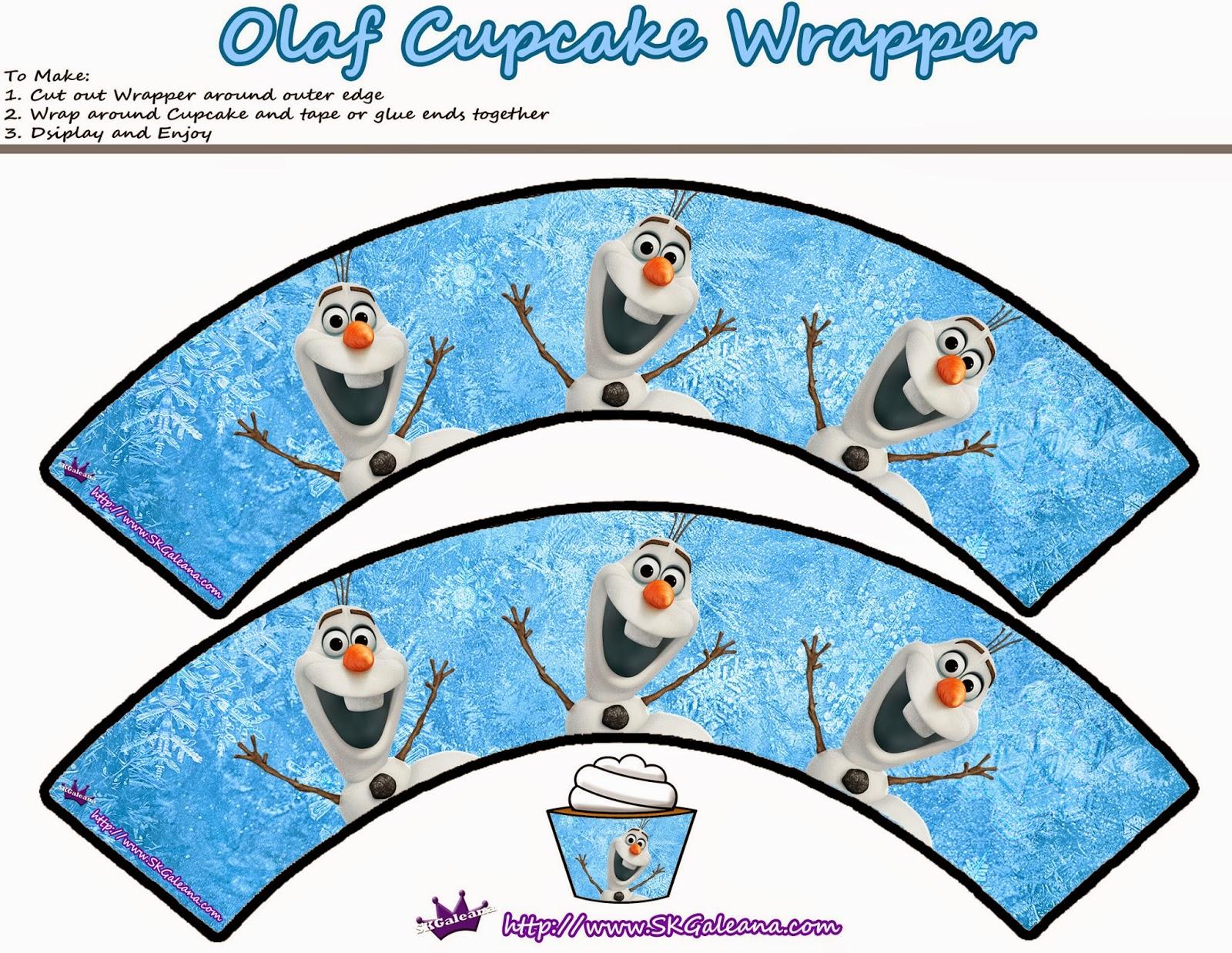 Wrappers de Olaf para Cupcakes.