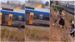 بالفيديو... حريق كبير بالقطار السريع الرابط بين تونس والدهماني