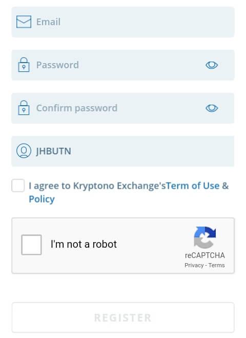 """lengkapi Formulir pendaftaran yang diminta oleh pihak Kryptono. Jika sudah Centang """"I agree to..."""" kemudian klik Captcha dan pilih """"Register""""."""