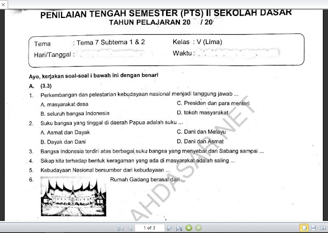 Soal PTS Kelas 5 Tema 7 Subtema 1 dan 2