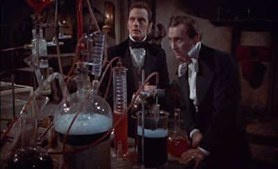 Peter Cushing and Francis Matthews in The Revenge of Frankenstein