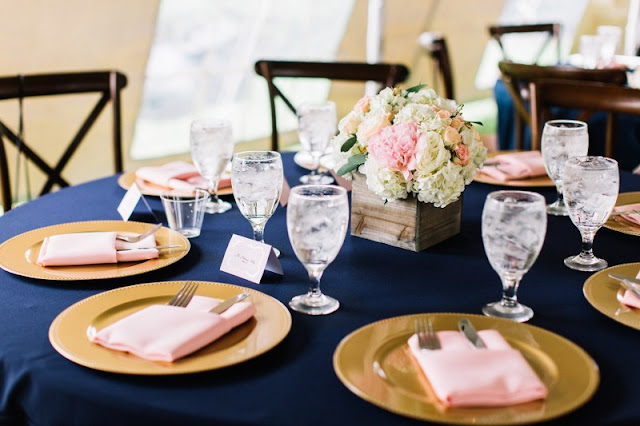 navy and pink table decor