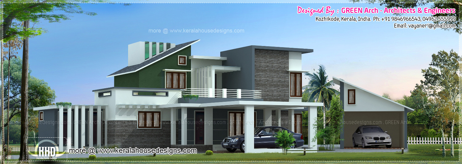Luxury House Elevation With Detached Car Garage Kerala