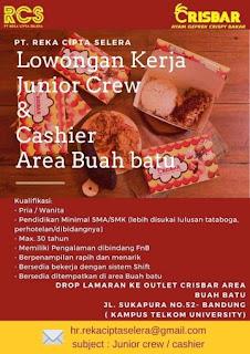 Lowongan kerja ayam geprek crisbar buah batu Bandung 2020