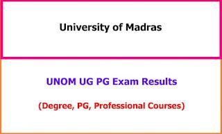 UNOM UG PG Exam Results 2021