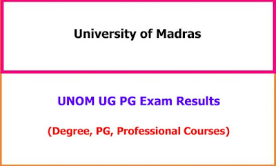 UNOM UG PG Exam Results