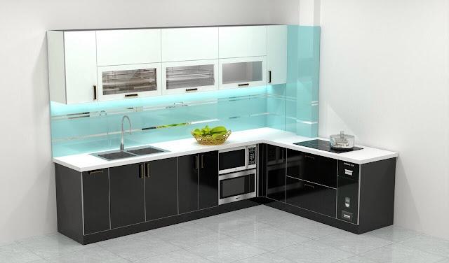 Tủ bếp inox cánh kính cường lực