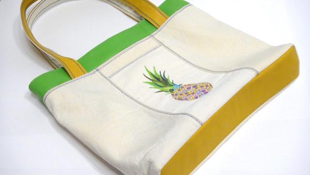 Вышитая сумка тоут: удобно для прогулок и походов на пляж - ананас, женские сумки 2017, ручная работа