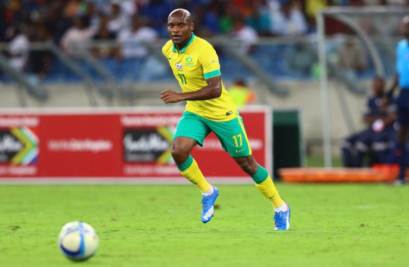 Tokelo Rantie representing Bafana Bafana in 2017