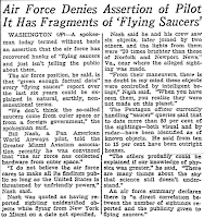 Air Force Denies It Has Fragments of Flying Saucers (UFOs) - The Day 3-23-1954