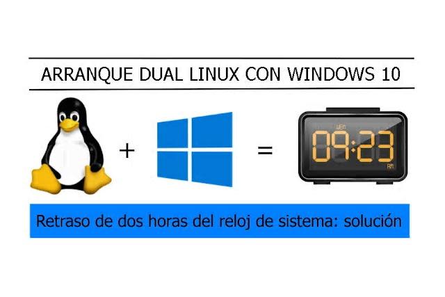 Retraso de dos horas del reloj de Windows 10 en sistemas con dual boot: Solución