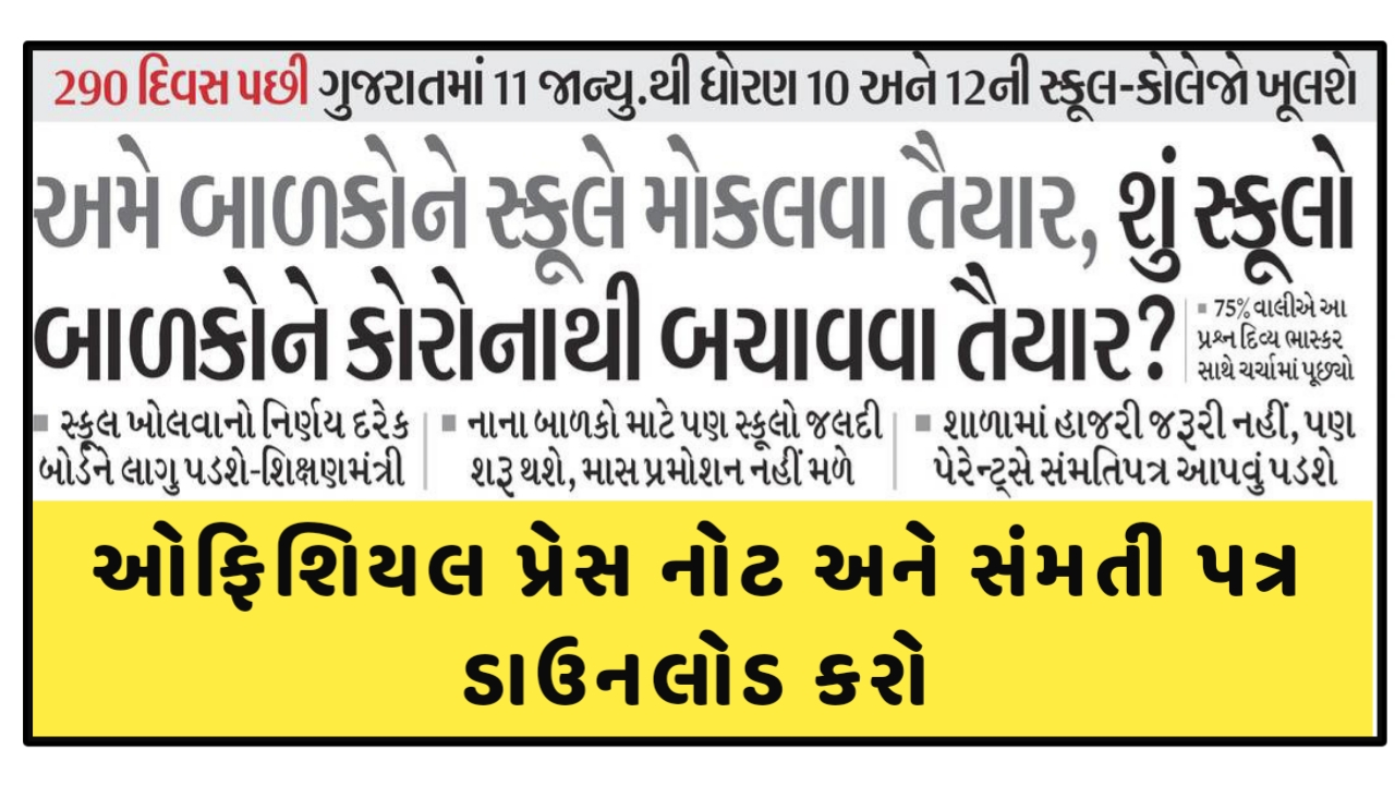 Gujarat Educational Works Of Std. 10, 12, Final-year Of Graduation, Post-graduation Will Commence From 11 January 2021