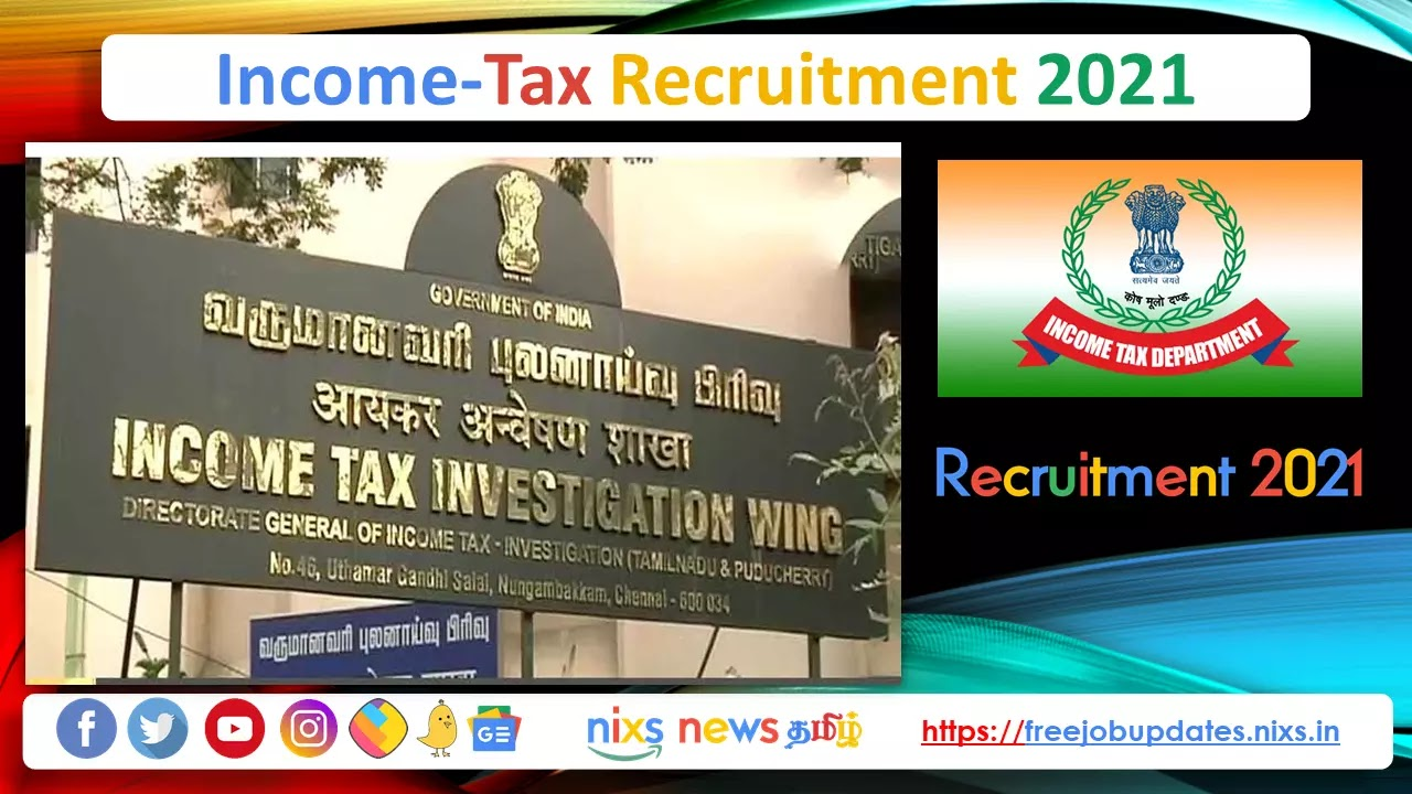 Income Tax Recruitment 2021 15 Sports Person Posts - Apply Online