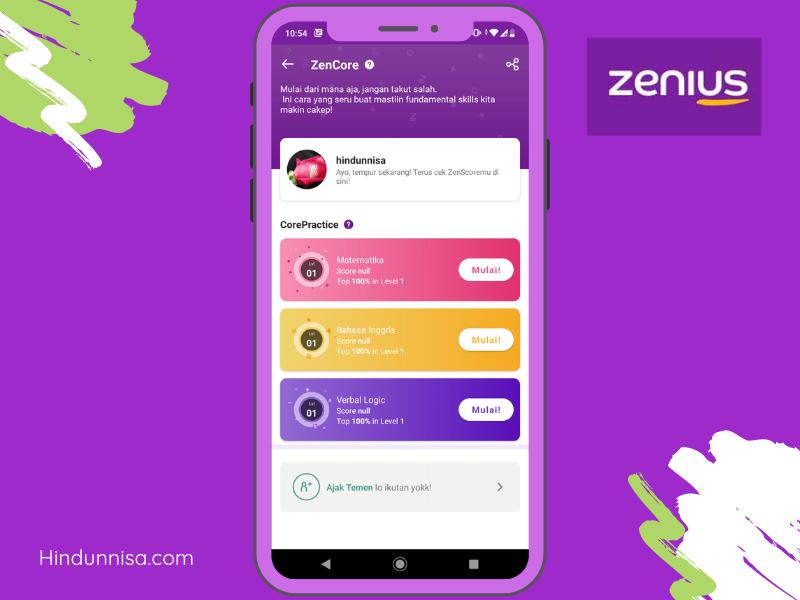 Daya ingat makin kuat karena udah latihan di fitur ZenCore yang tersedia di aplikasi Zenius
