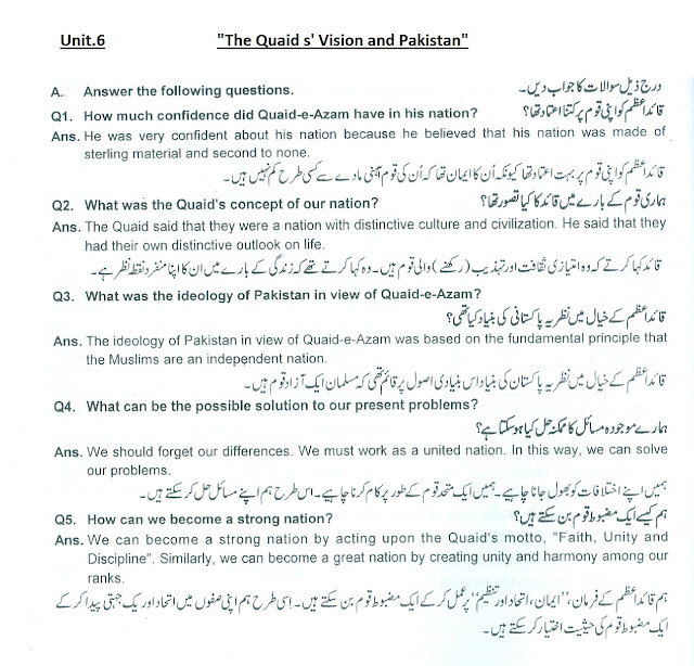 9th class unit.6 The Quaid s' Vision detailed questions and answers