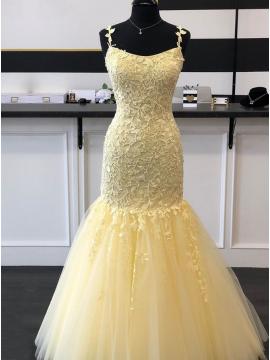 Daffodil criss-cross back long mermaid prom dress
