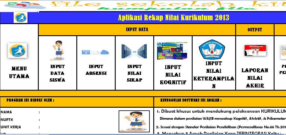Download Aplikasi Rekap Nilai Kurikulum 2013 Versi Tahun 2016 dengan Format Microsoft Excel