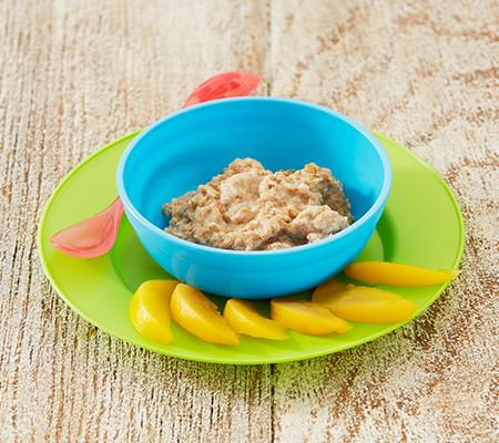 Cereales con melocotones