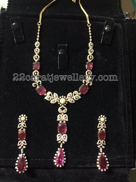 Ruby Adorned Diamond Set Hangings