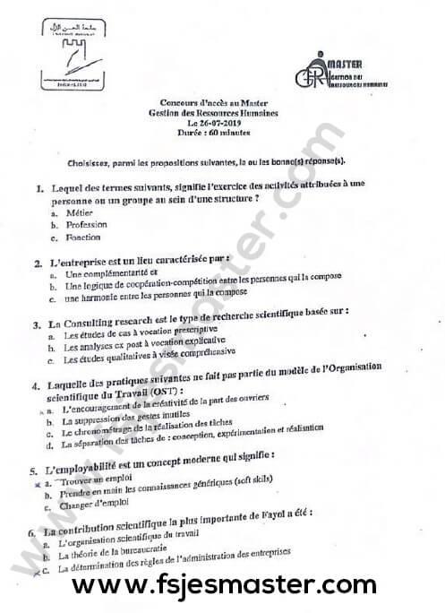 Exemple Concours Master Gestion des Ressources Humaines 2019-2020 - Fsjes Settat