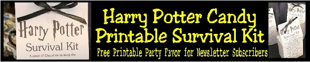 Celebrate your love of Harry Potter with this fun printable Harry Potter Survival Kit. You'll find all the candy and chocolate treats to get you through another year of Hogwarts or your next Harry Potter party. This printable survival kit is the perfect party favor or party treat for any Harry Potter fan.