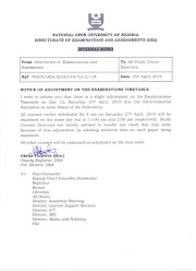 Internal Memo:- Notice of Adjustment on The Examination Timetable