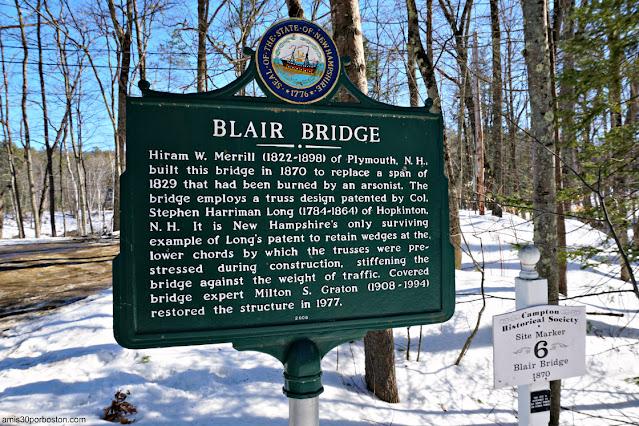 Placa del Blair Covered Bridge en Campton, New Hampshire