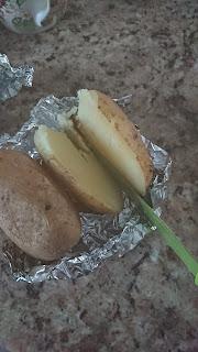 potato cut in half after baking