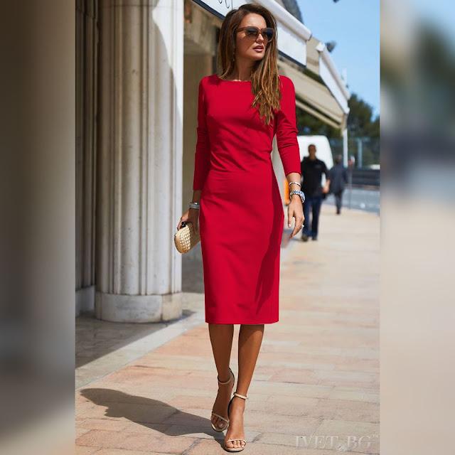 Μακρυμάνικο μεσάτο μίντι φόρεμα TAMMI RED