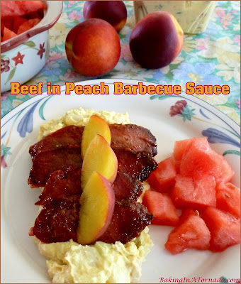 Beef in Peach Barbecue Sauce starts with a bottled sauce, adds seasonal flavors and cooks in the oven. | Recipe developed by www.BakingInATornado.com | #beef #dinner