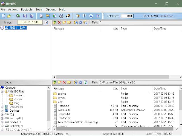 Phần mềm UltraISO Premium Edition v9 7 1 3519 – quản lí file ISO