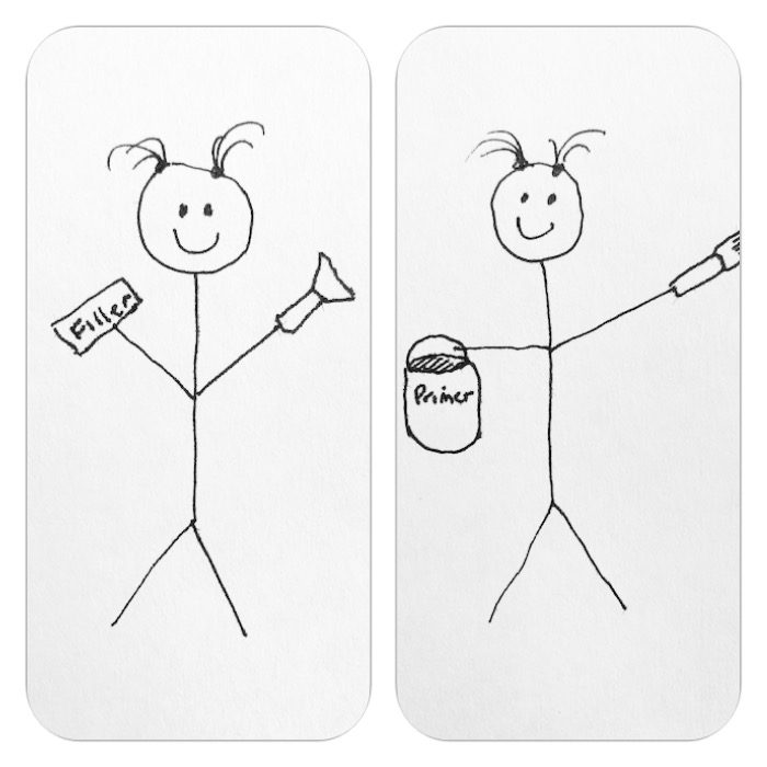 stick figure drawing of wood filler and primer