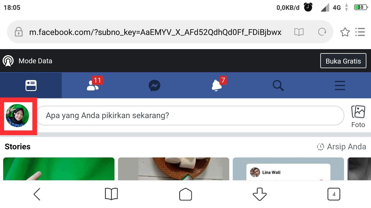 Cara salin link facebook sendiri