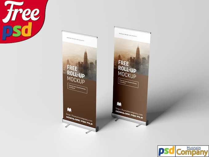 Download Free Roll-up PSD Mockup #4