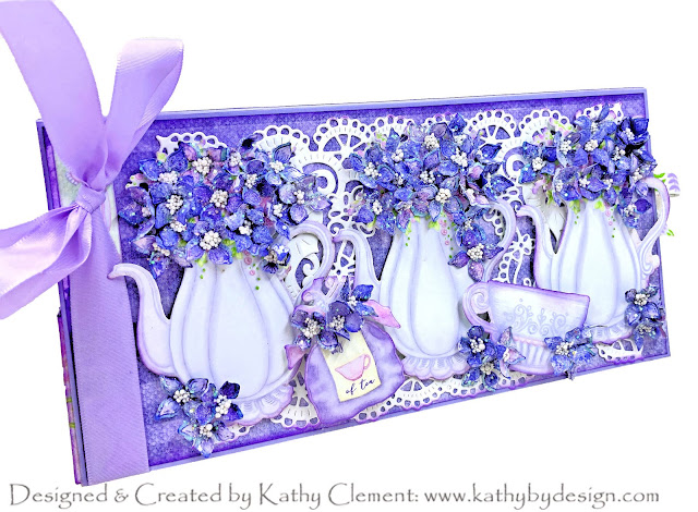 Lush Lilacs Tea Party in a Box Card by Kathy Clement for Really Reasonable Ribbon