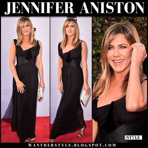 Jennifer Aniston in black corset Christian Lacroix dress red carpet fashion june 7