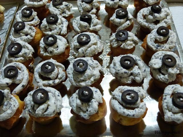 Cupcake chorizo-olives noires et glaçage au chèvre frais