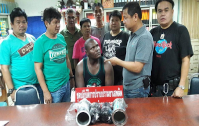 Police busted Nigerian drug dealer in with 2 kilos of  crystal meth in Bangkok, Thailand (See photo)