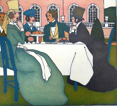 Bernard Boutet de Monvel, a color illustration of young adults at tea on a lawn