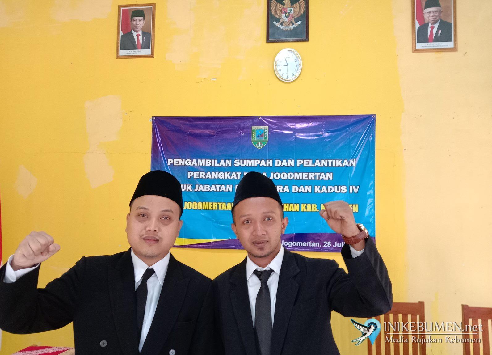 Rosid dan Muslim Resmi jadi Perangkat Desa Jogomertan Petanahan