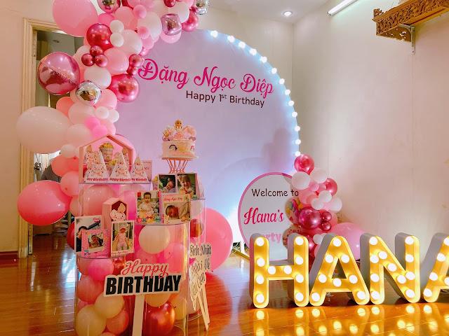 Trang trí sinh nhật cho bé trai tại nhà Hoàng Mai