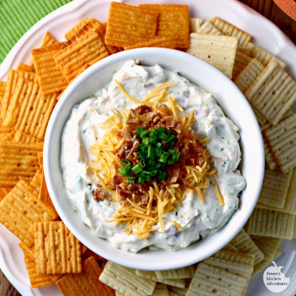 Loaded Ranch Dip | Renee's Kitchen Adventures: Cool ranch, bacon, cheese, and chives make this dip irresistible!