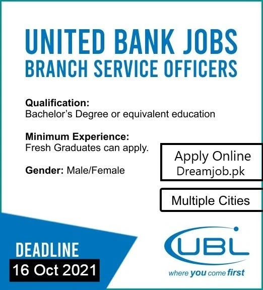 UBL Jobs 2021 for Branch Services Officer