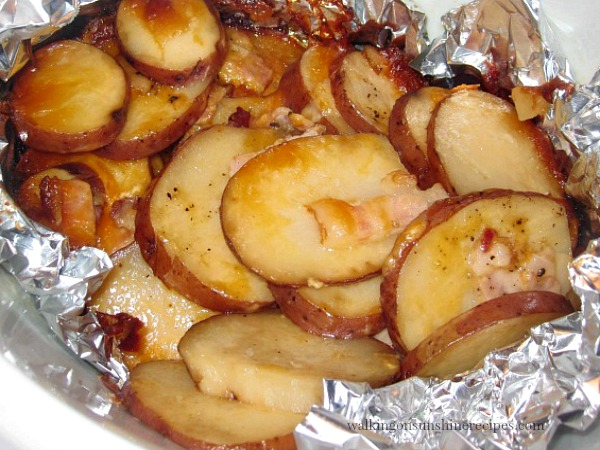 Bacon Cheese Potatoes made in the crock pot from Walking on Sunshine.