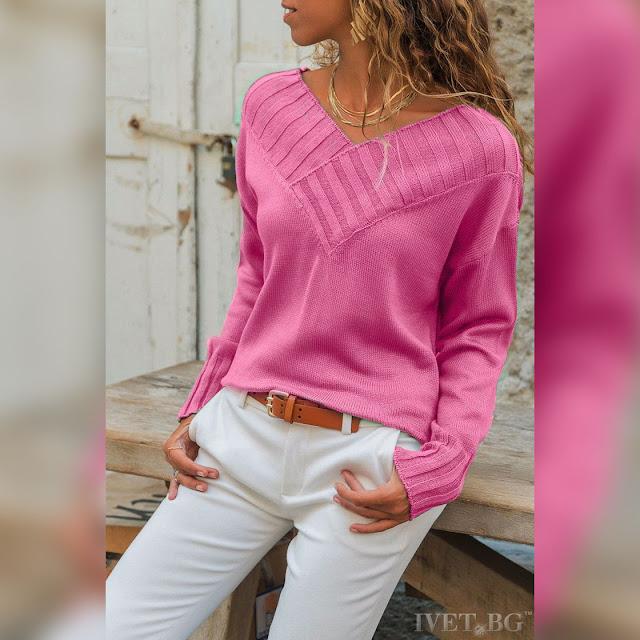 Εντυπωσιακό ρόζ  γυναικείο πουλόβερ SERINA PINK