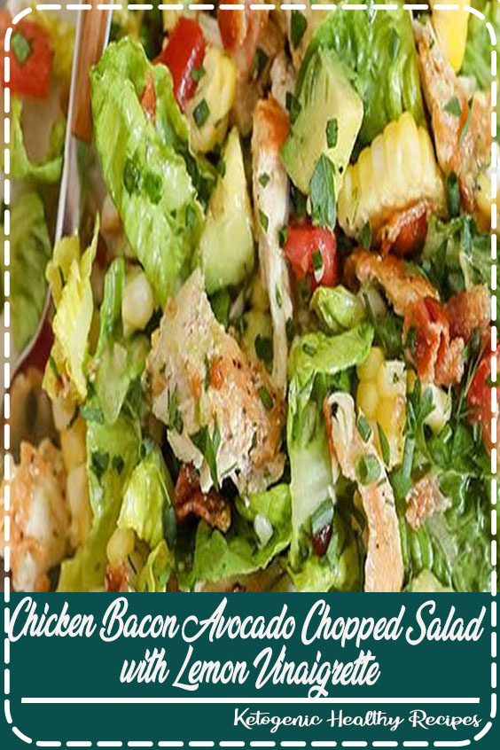 Bacon Avocado Chicken Salad with Lemon Vinaigrette - Loads of veggies, crispy bacon and creamy avocado make the perfect base for the healthy salad dressing.