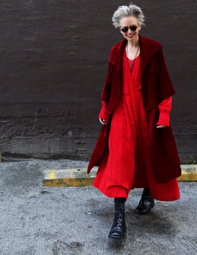 Vintage velvet coat, big red dress, combat boots, Mel Kobayashi, Bag and a Beret