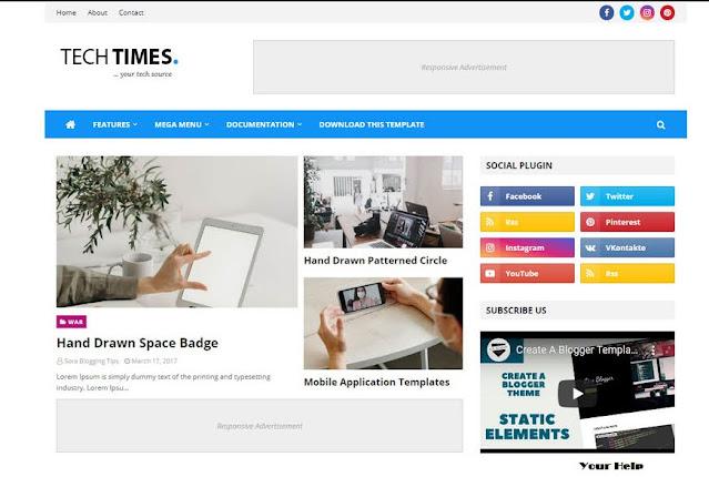 Tech Times Responsive Blogger Template, Top 10 Blogger Template, Free Blogger Template