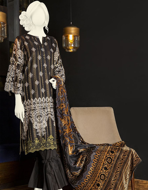 J. Junaid jamshed winter collection Black color printed jacquard shirt with palachi dupatta