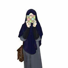 anime kartun muslimah bercadar cantik
